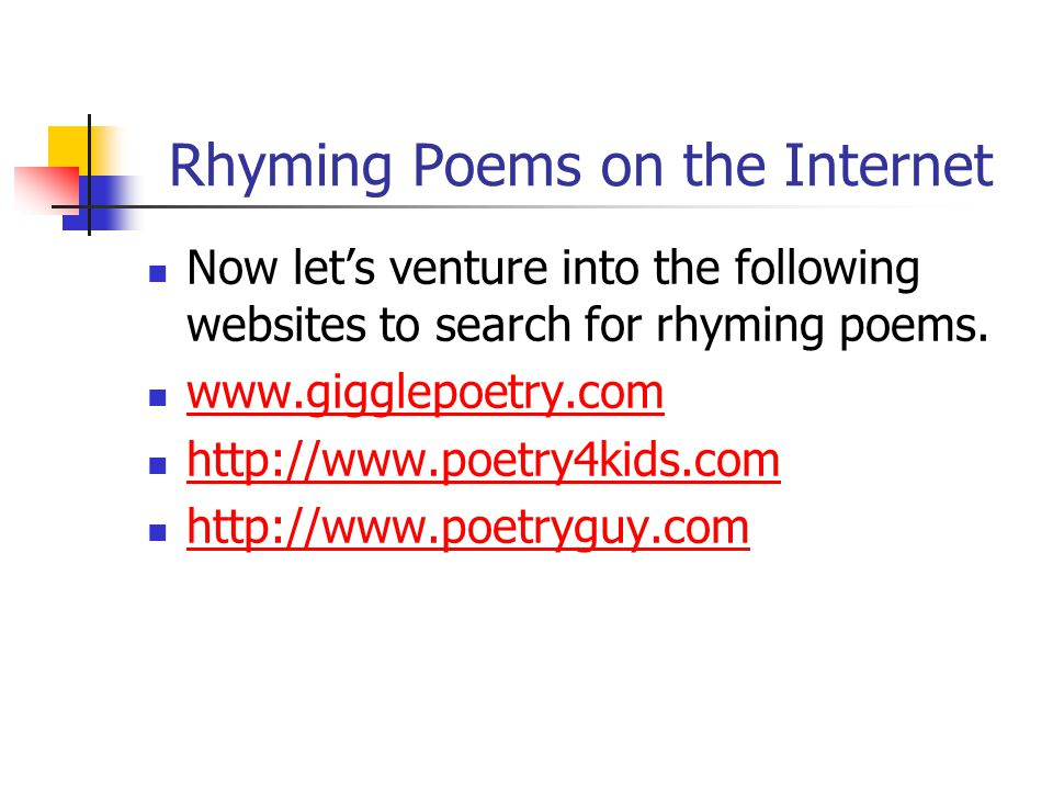 Rhyming Poems on the Internet