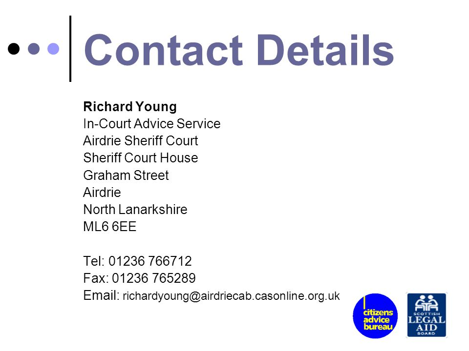 Contact Details Richard Young In-Court Advice Service