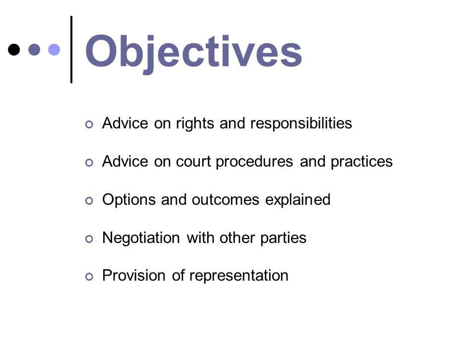 Objectives Advice on rights and responsibilities