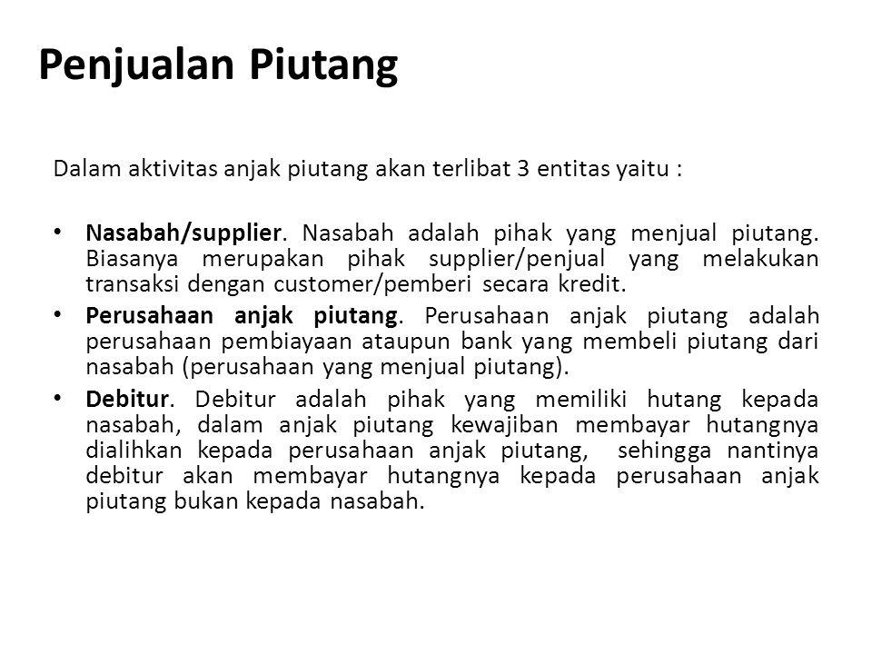 Penjualan Piutang Dalam aktivitas anjak piutang akan terlibat 3 entitas yaitu :