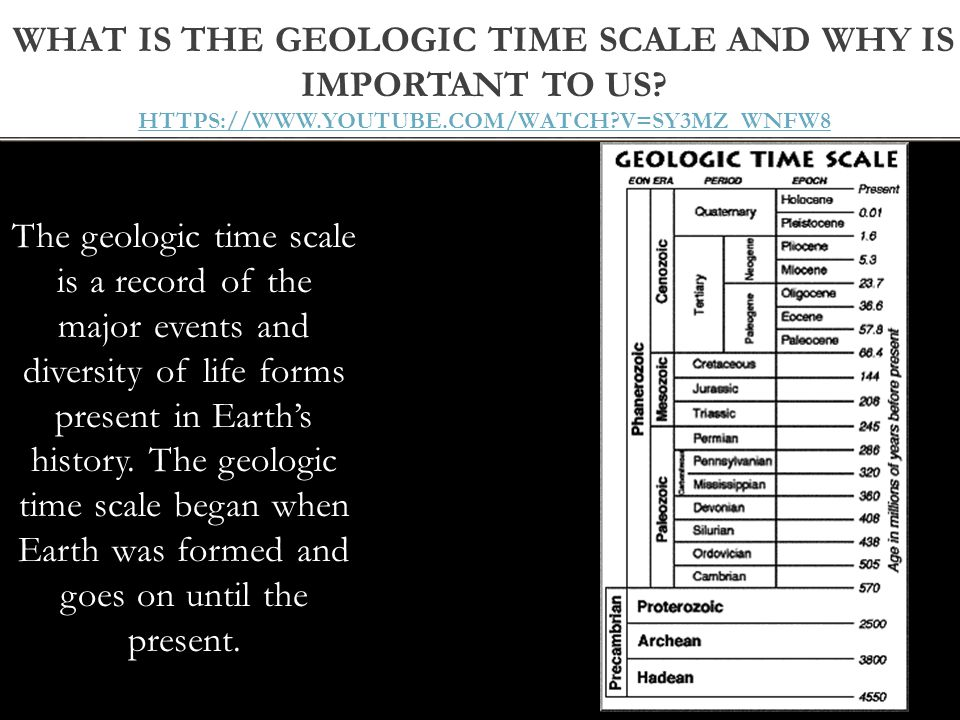 What is the geologic time scale and why is important to us https://www.youtube.com/watch v=SY3MZ_wNFW8