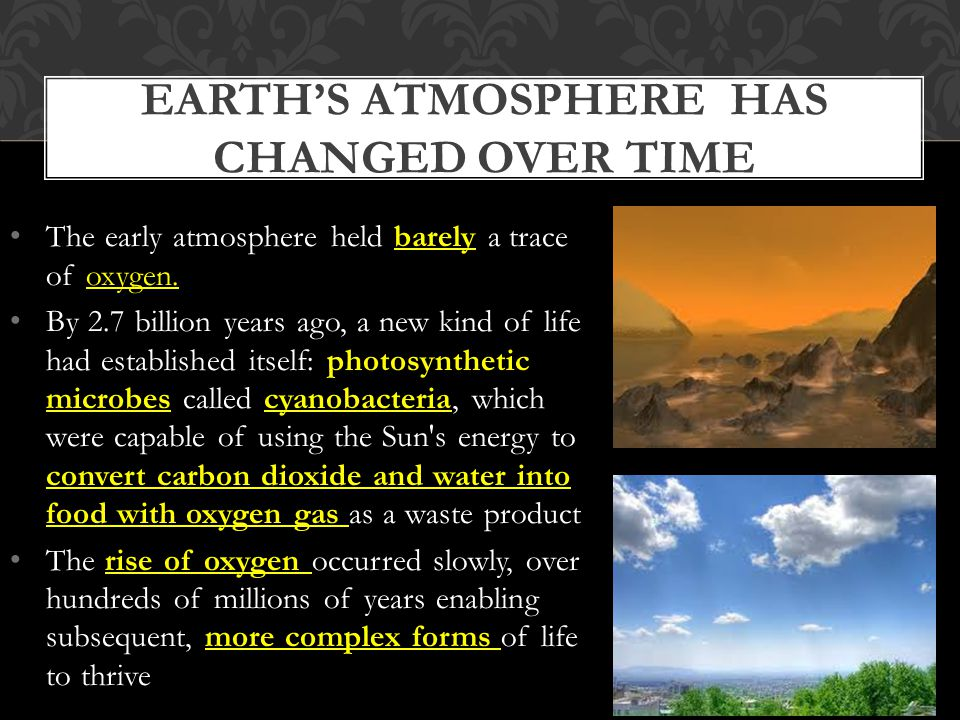 Earth's atmosphere has changed over time
