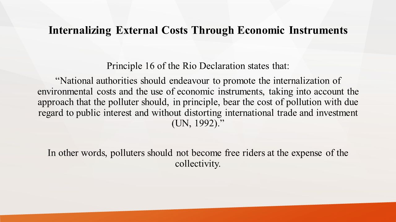 Internalizing External Costs Through Economic Instruments