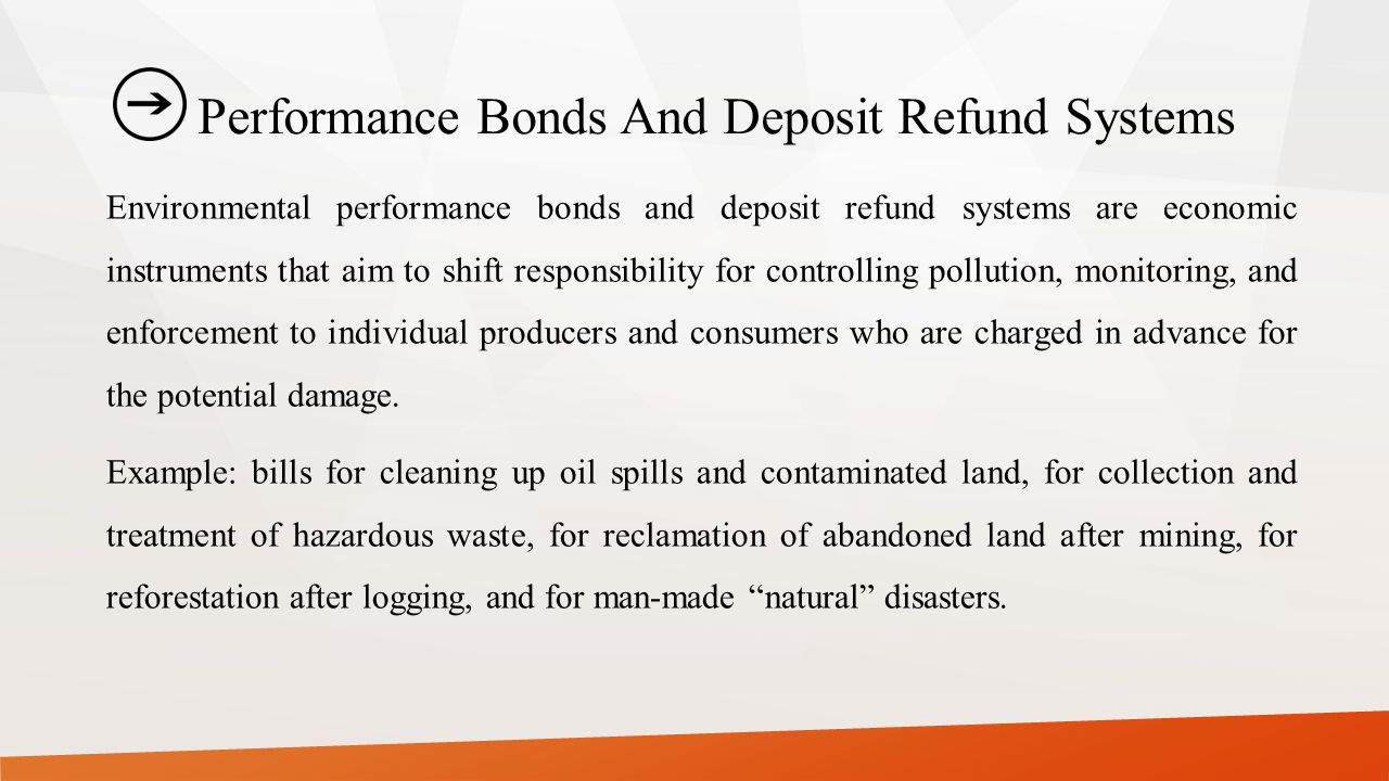 Performance Bonds And Deposit Refund Systems