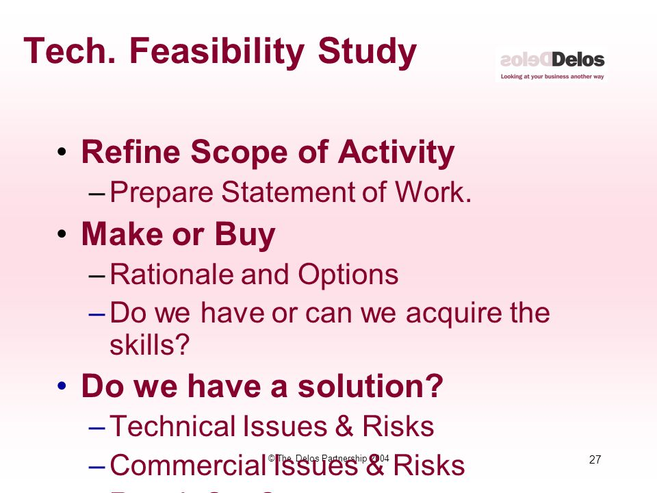 Tech. Feasibility Study
