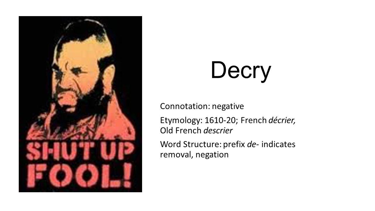 Decry Connotation: negative
