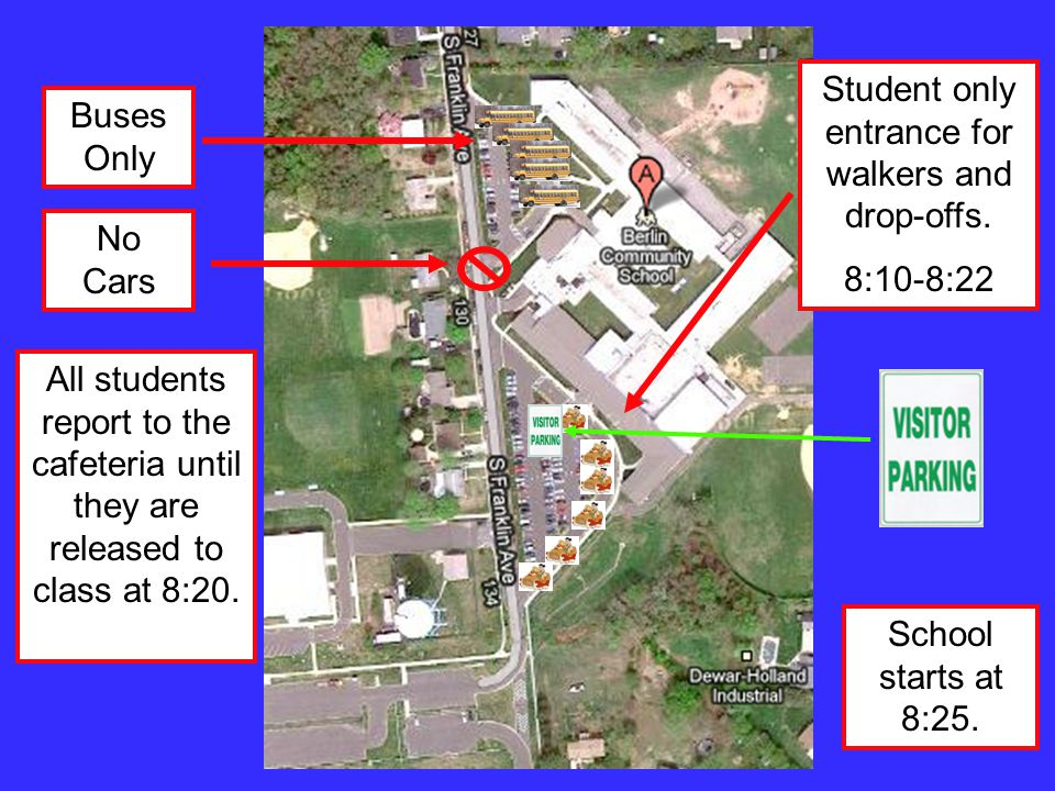 Student only entrance for walkers and drop-offs.