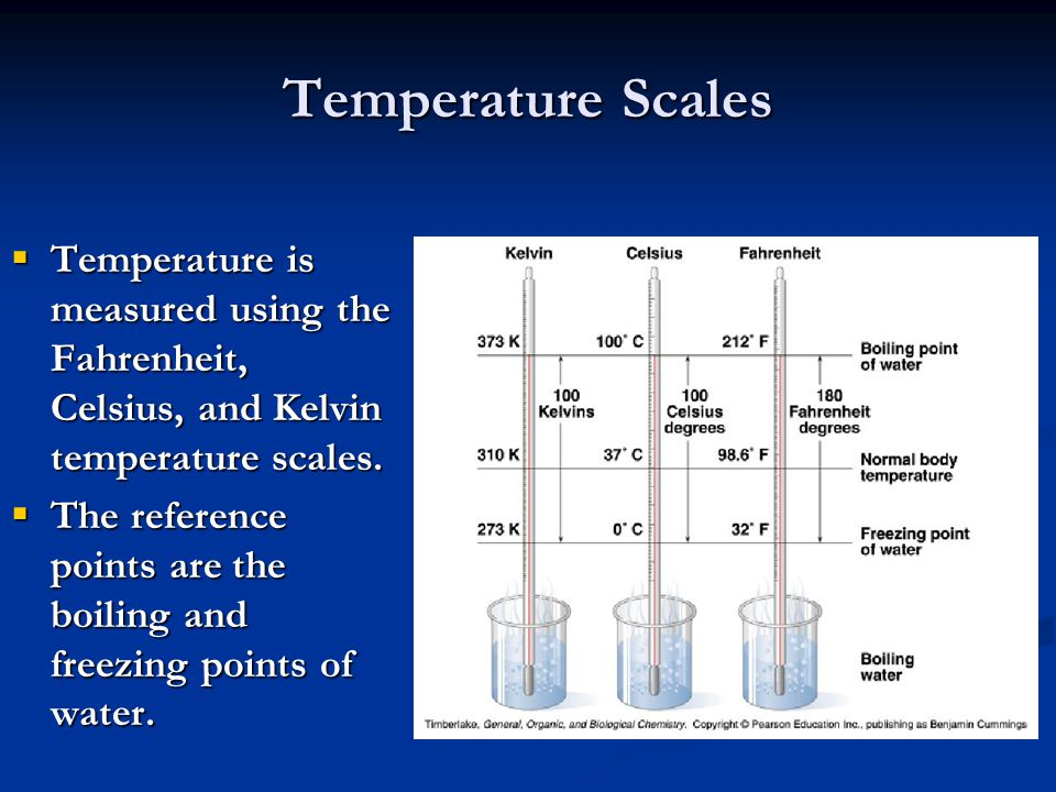 Temperature Scales Temperature is measured using the Fahrenheit, Celsius, and Kelvin temperature scales.