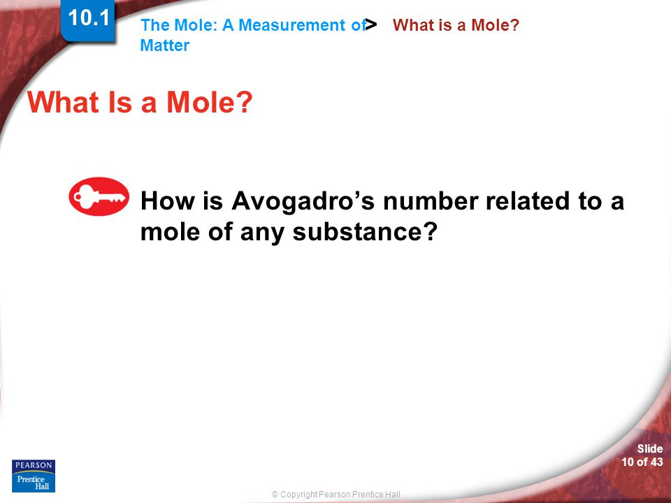 10.1 What is a Mole What Is a Mole How is Avogadro's number related to a mole of any substance