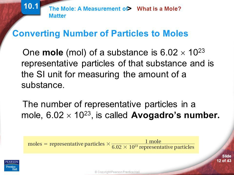 Converting Number of Particles to Moles
