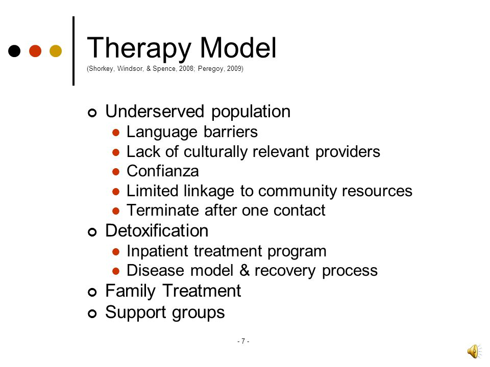 Therapy Model (Shorkey, Windsor, & Spence, 2008; Peregoy, 2009)