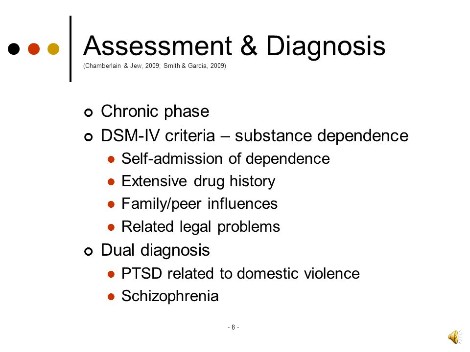 Assessment & Diagnosis (Chamberlain & Jew, 2009; Smith & Garcia, 2009)