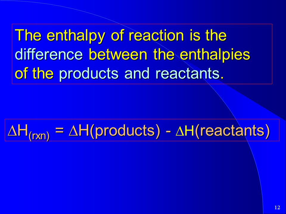 The enthalpy of reaction is the difference between the enthalpies of the products and reactants.
