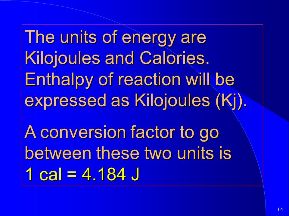 The units of energy are Kilojoules and Calories