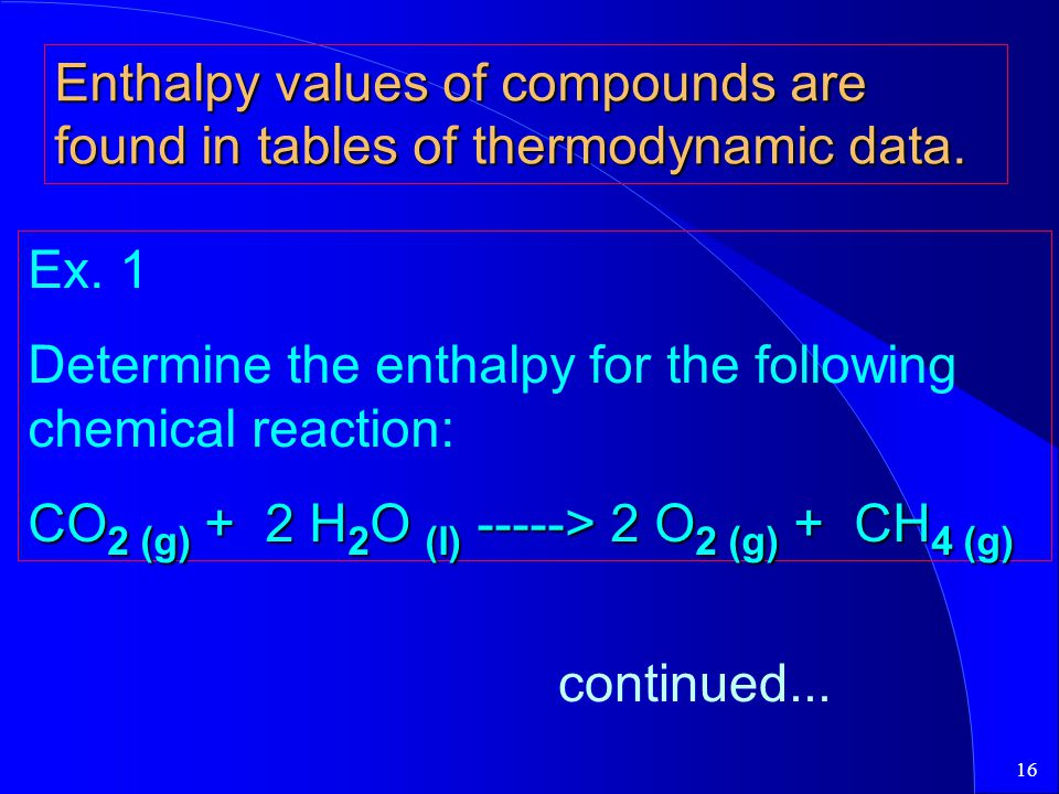 Enthalpy values of compounds are found in tables of thermodynamic data.