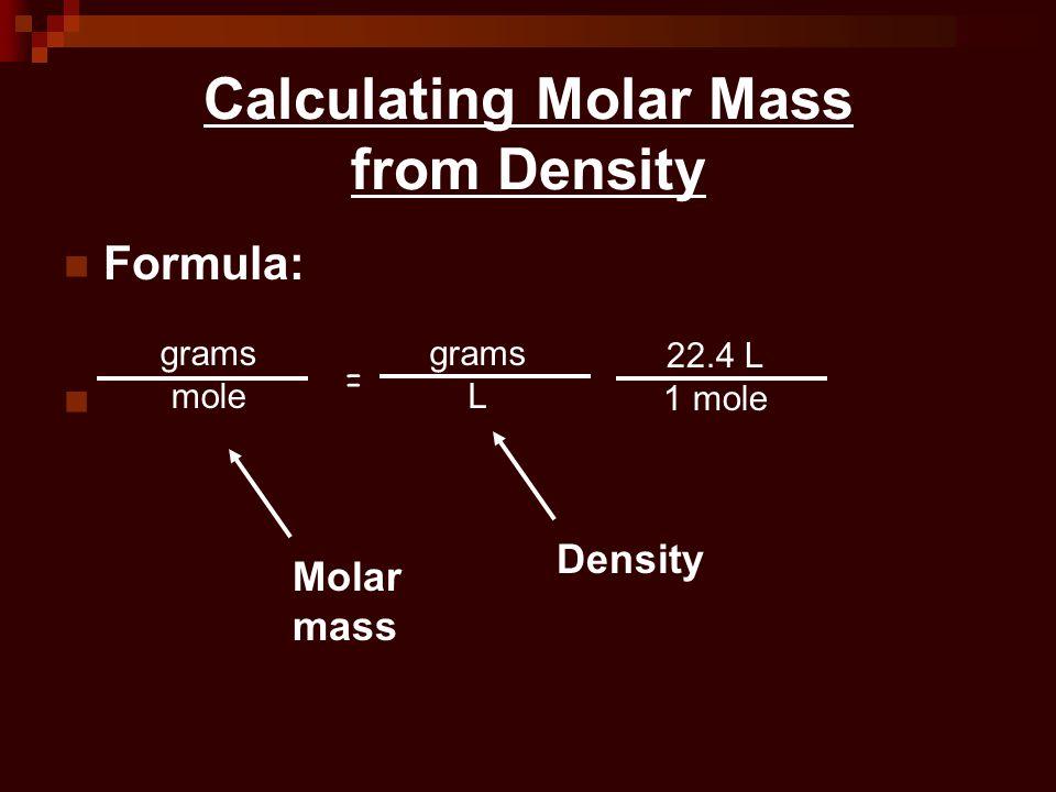 Calculating Molar Mass from Density