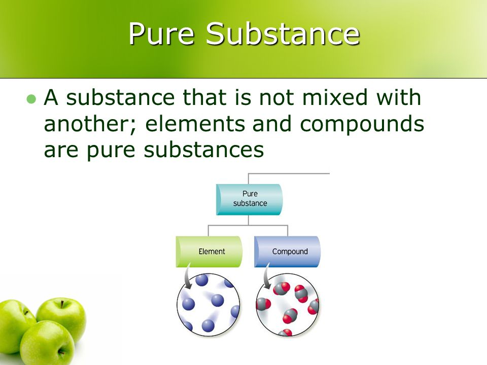 Pure Substance A substance that is not mixed with another; elements and compounds are pure substances.