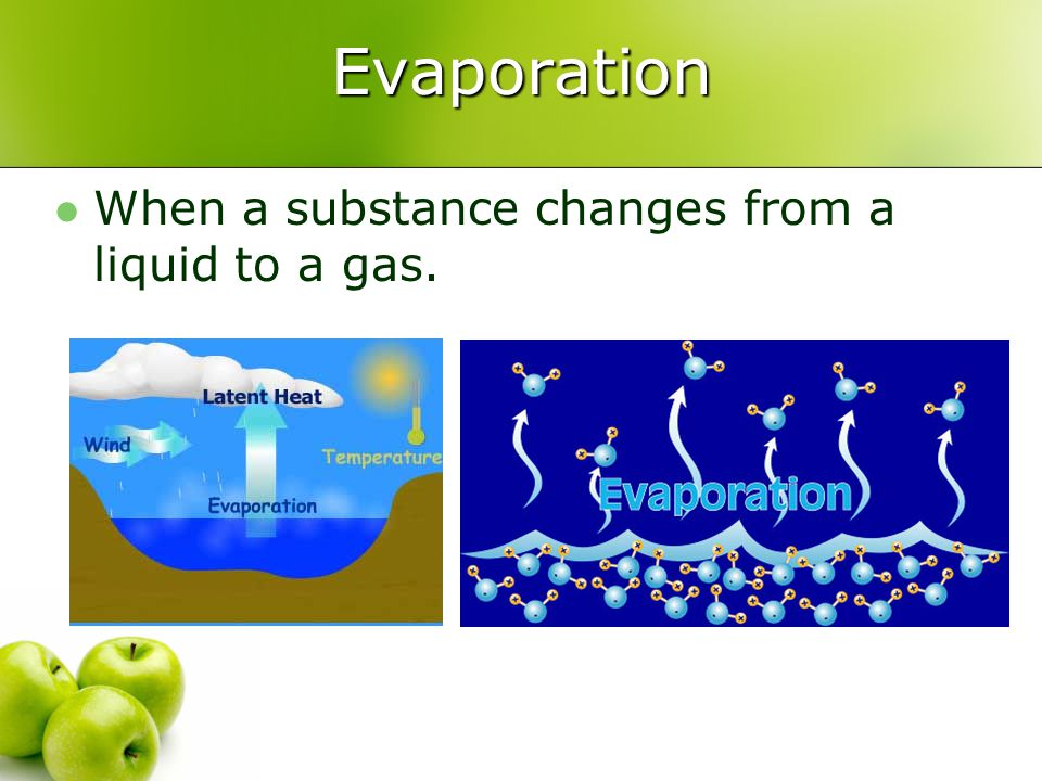Evaporation When a substance changes from a liquid to a gas.