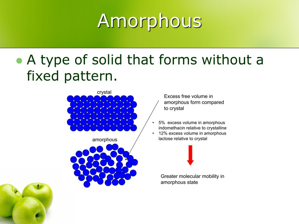 Amorphous A type of solid that forms without a fixed pattern.