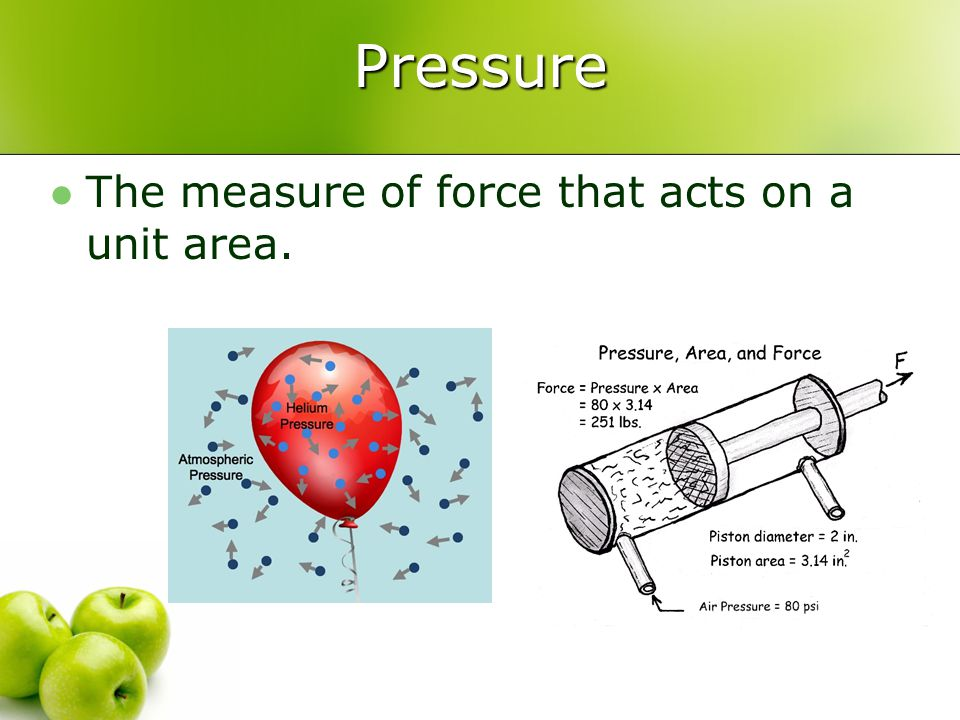 Pressure The measure of force that acts on a unit area.