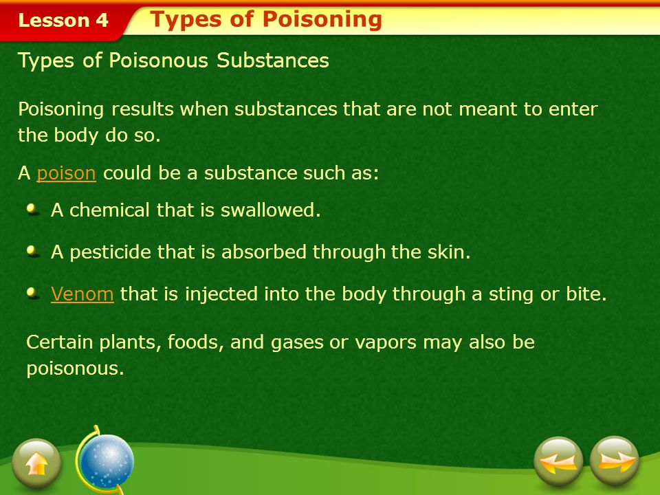 Types of Poisoning Types of Poisonous Substances