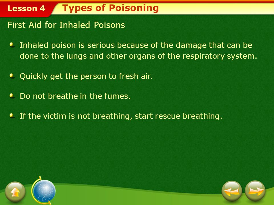 Types of Poisoning First Aid for Inhaled Poisons
