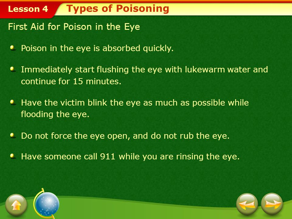 Types of Poisoning First Aid for Poison in the Eye
