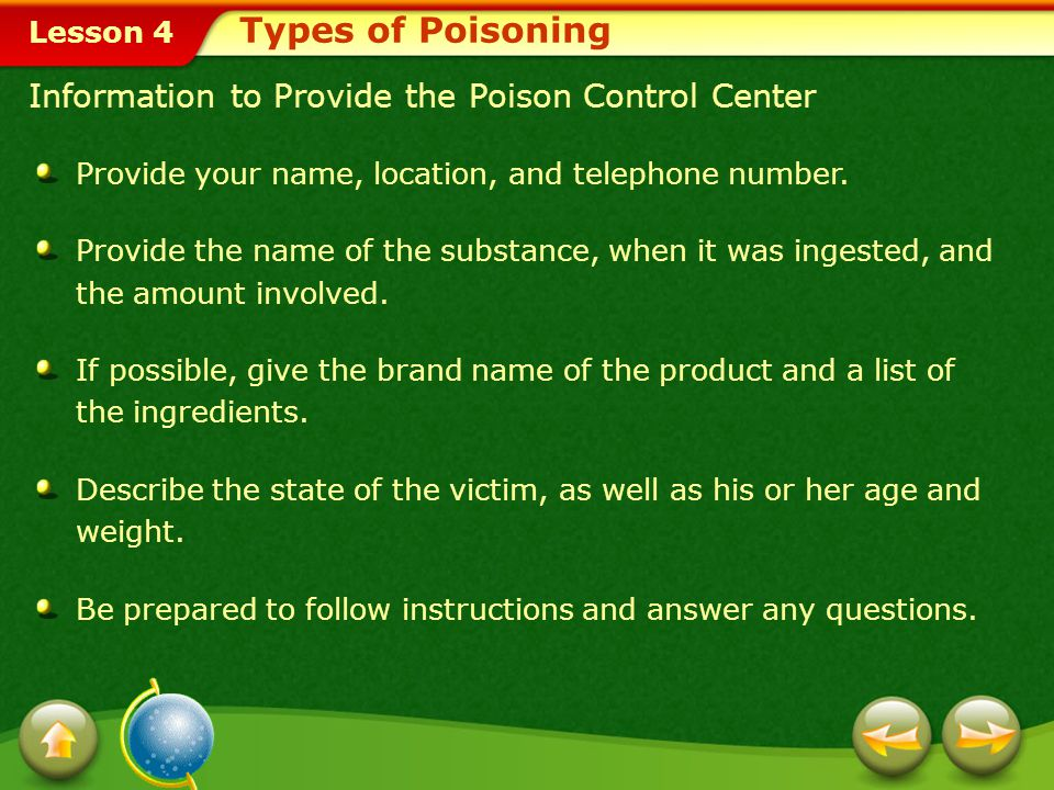 Types of Poisoning Information to Provide the Poison Control Center