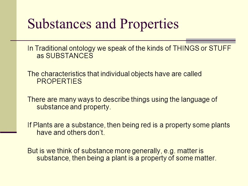 Substances and Properties
