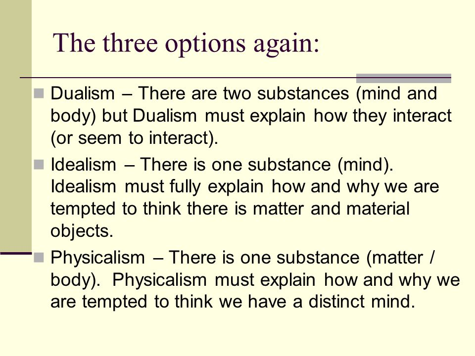 The three options again: