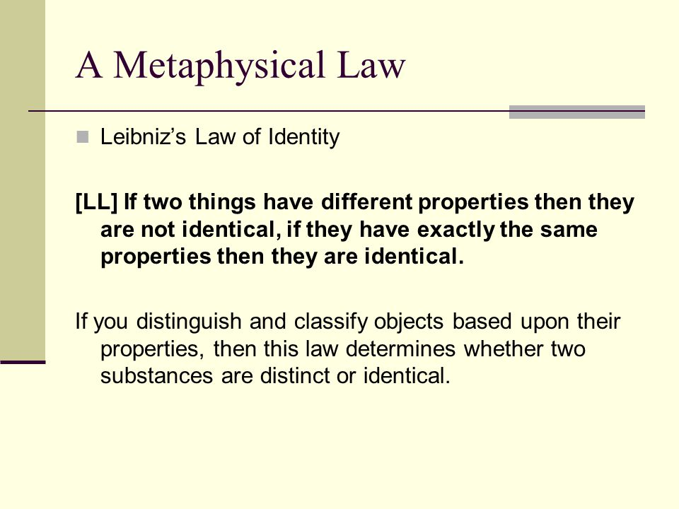 A Metaphysical Law Leibniz's Law of Identity