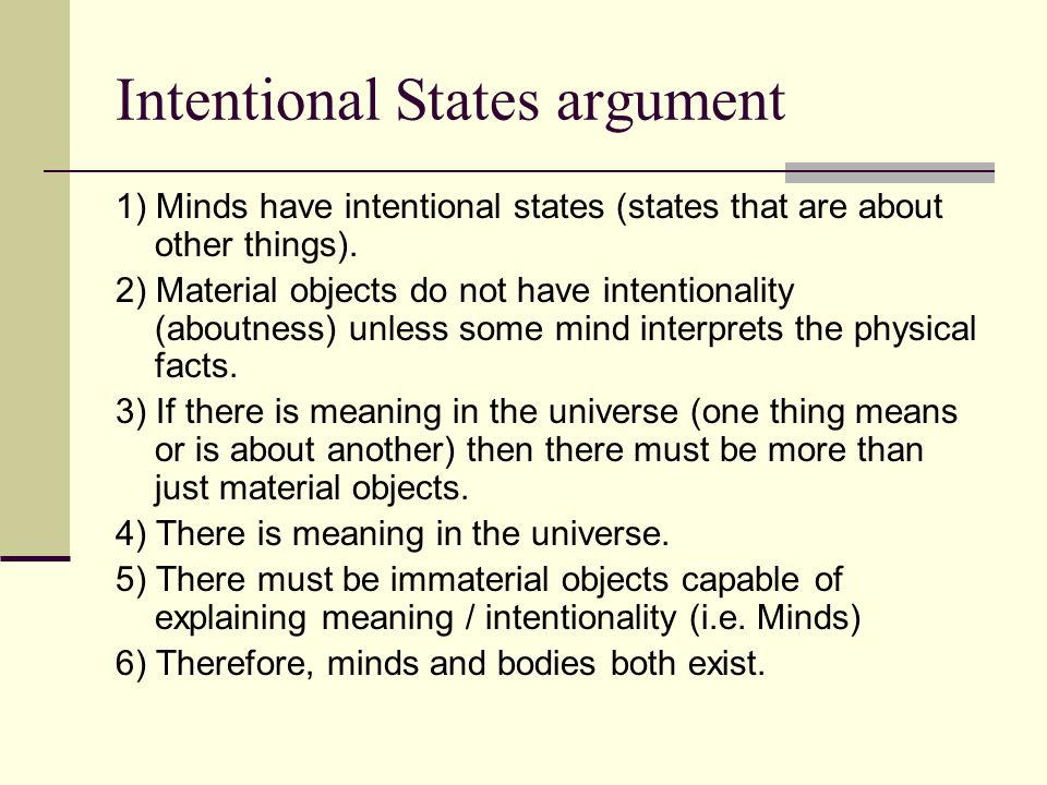 Intentional States argument
