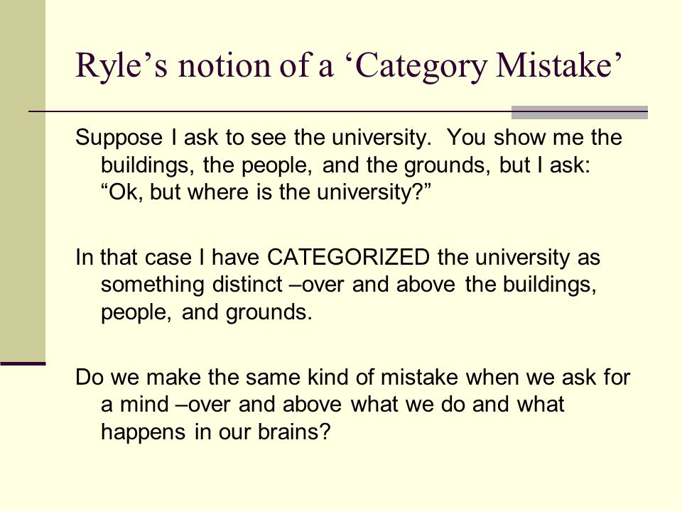 Ryle's notion of a 'Category Mistake'