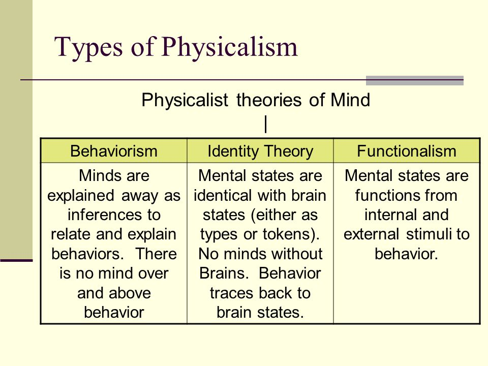 Physicalist theories of Mind |