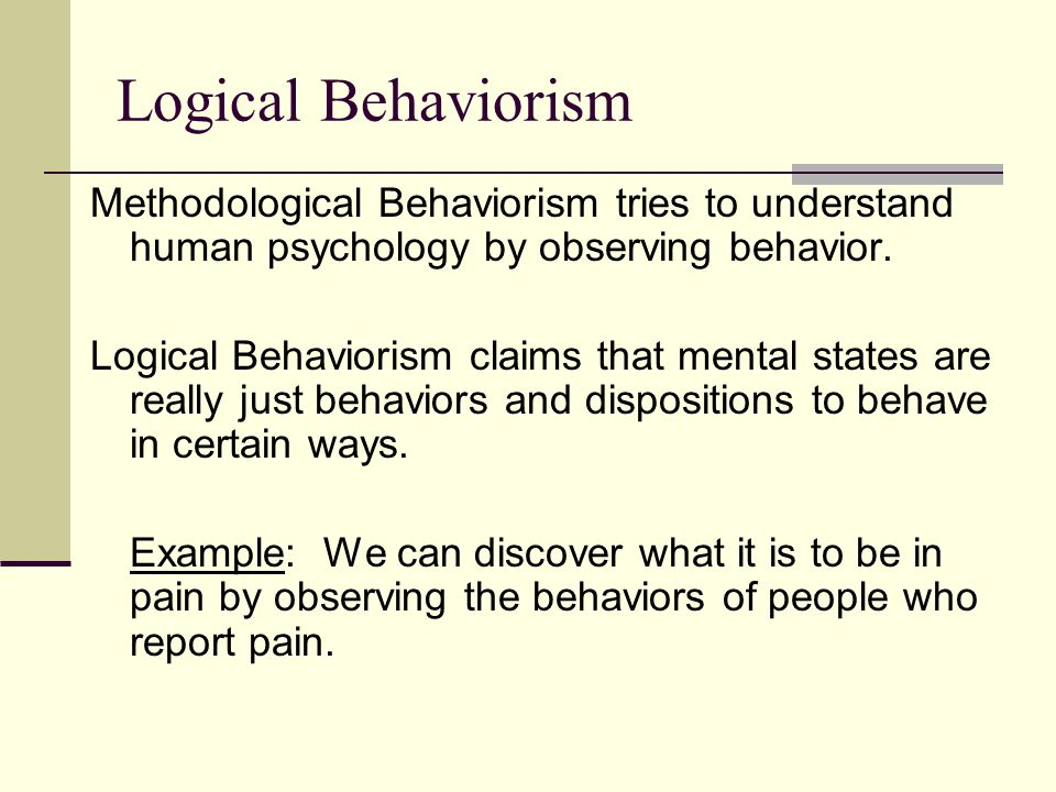 Logical Behaviorism Methodological Behaviorism tries to understand human psychology by observing behavior.