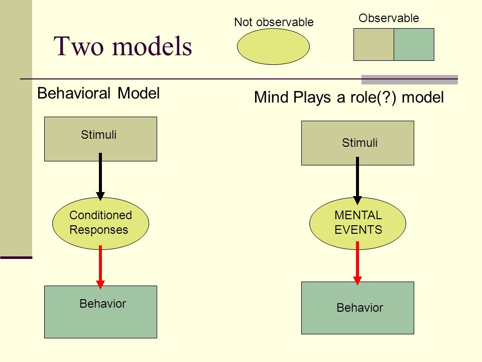 Two models Behavioral Model Mind Plays a role( ) model Observable