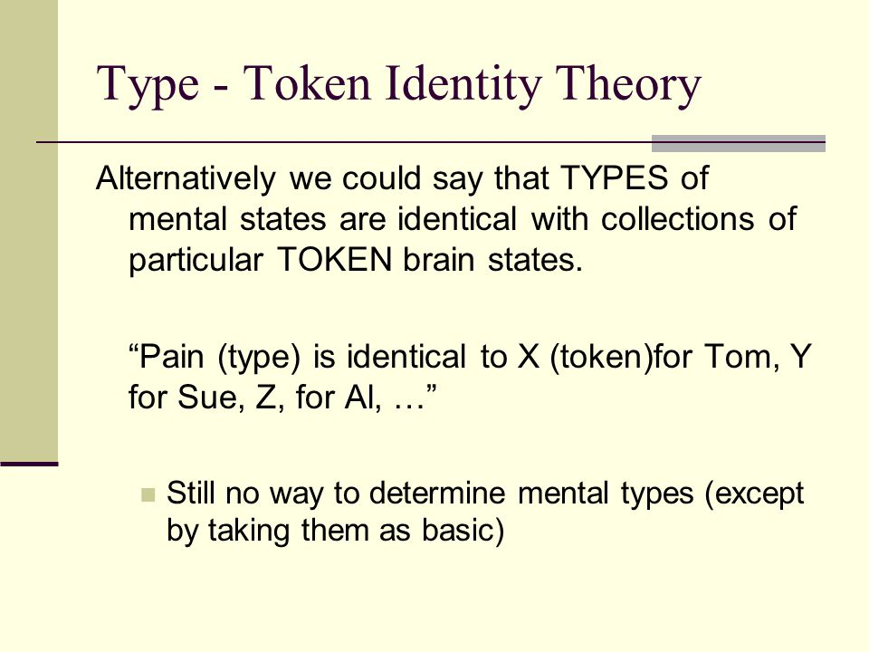 Type - Token Identity Theory