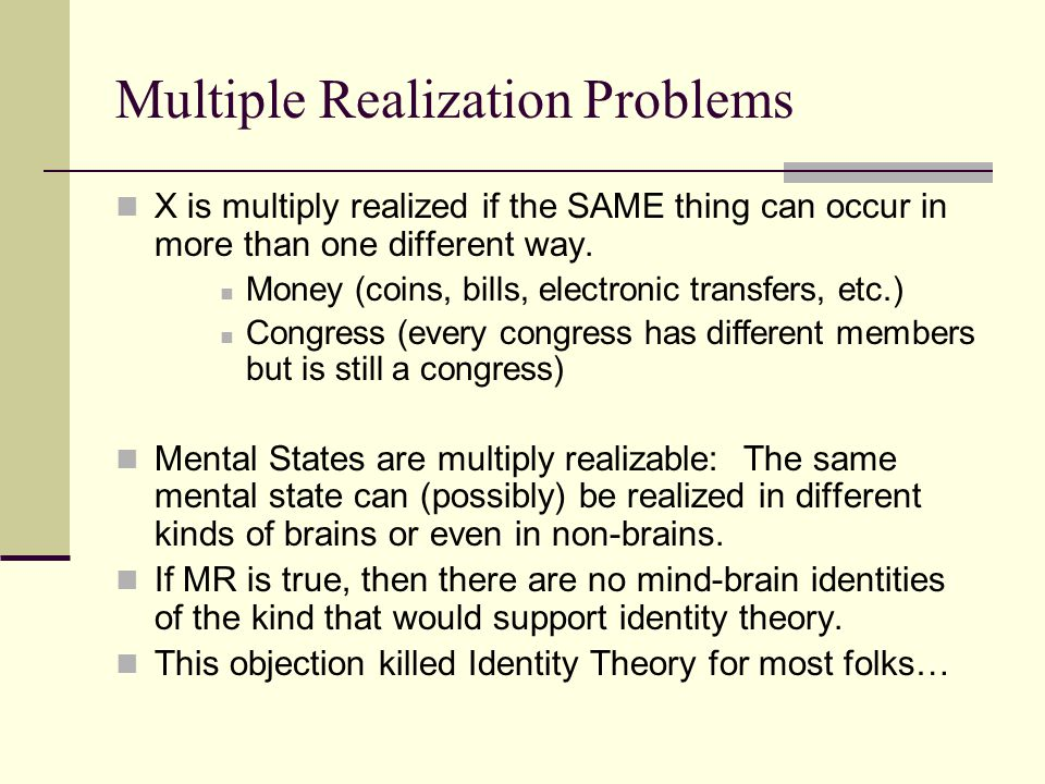 Multiple Realization Problems
