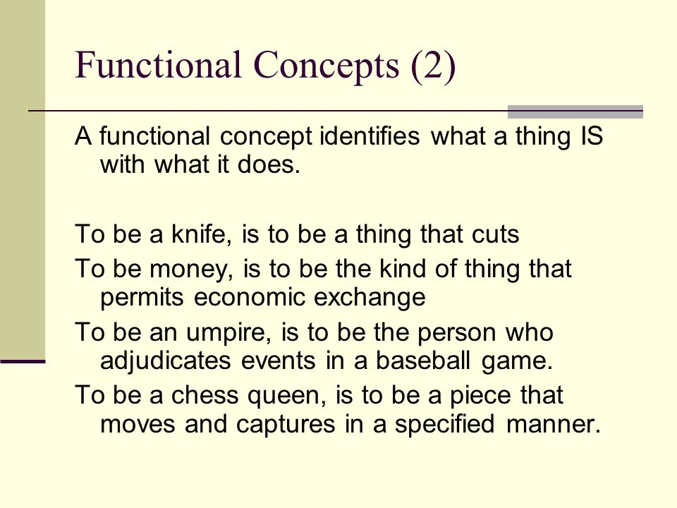 Functional Concepts (2)
