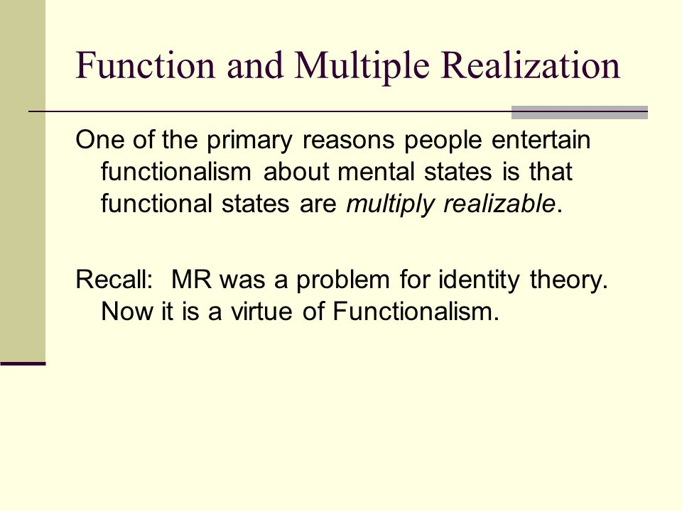 Function and Multiple Realization