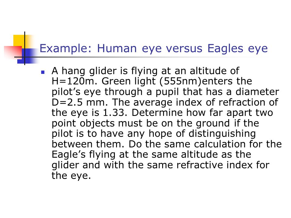 Example: Human eye versus Eagles eye