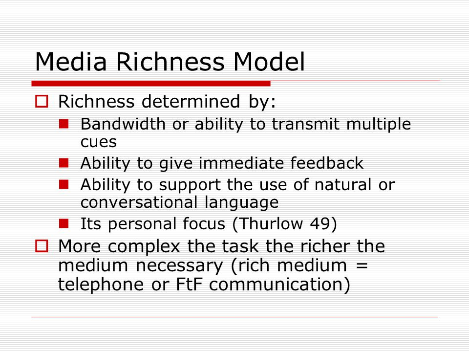 Media Richness Model Richness determined by: