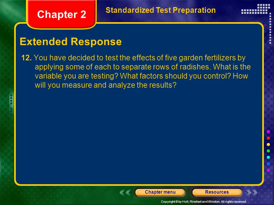 Chapter 2 Extended Response Standardized Test Preparation