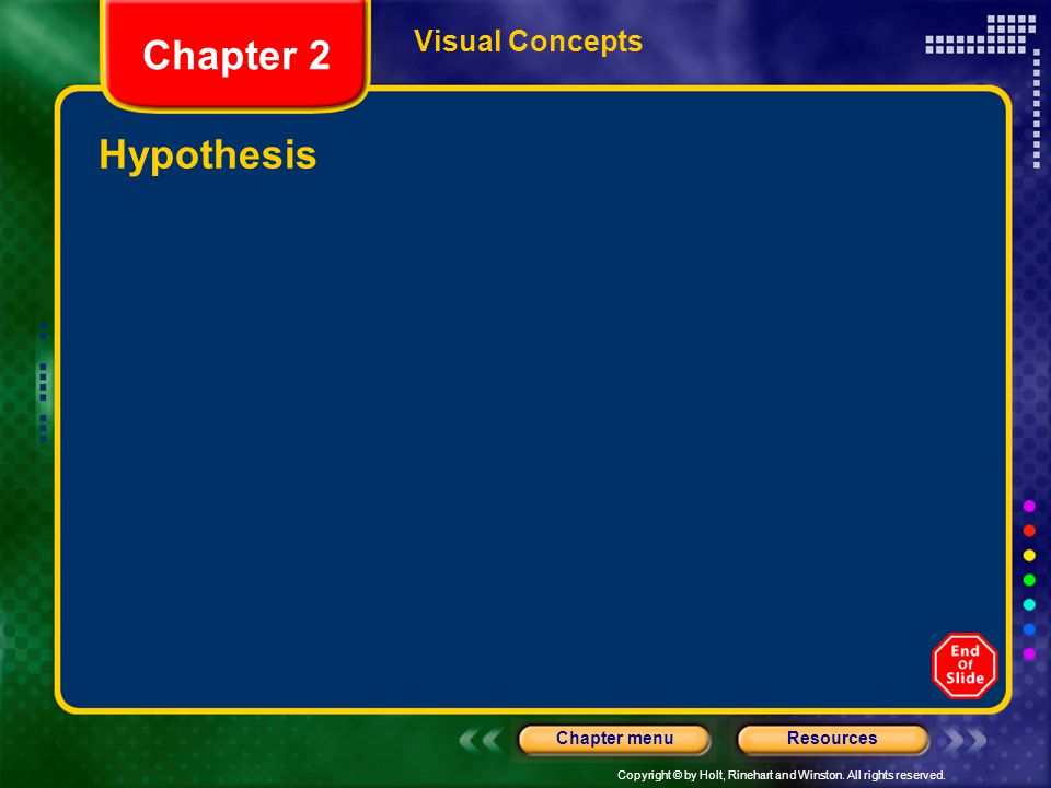 Visual Concepts Chapter 2 Hypothesis