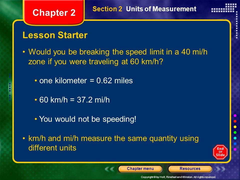 Chapter 2 Lesson Starter