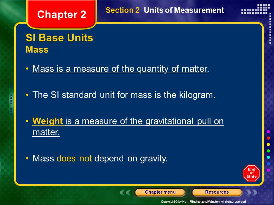 Chapter 2 SI Base Units Mass