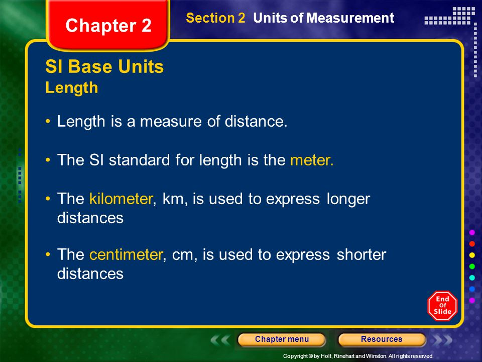 Chapter 2 SI Base Units Length Length is a measure of distance.