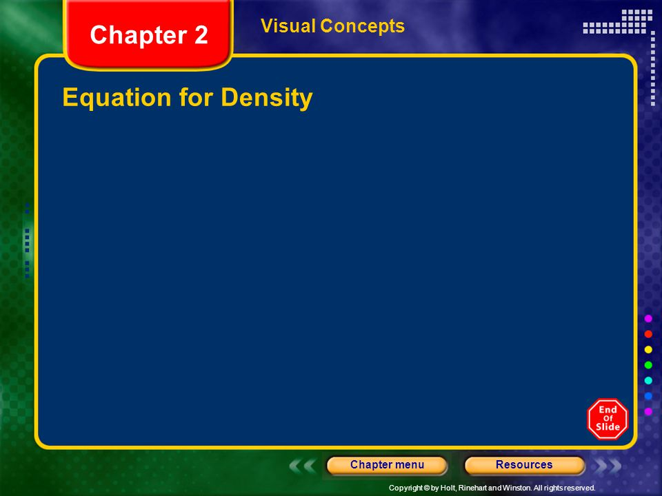 Visual Concepts Chapter 2 Equation for Density