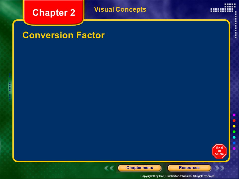 Visual Concepts Chapter 2 Conversion Factor