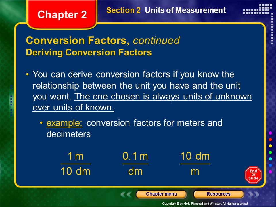 Conversion Factors, continued